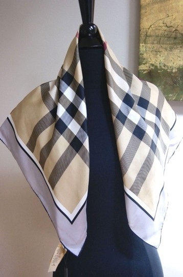 Burberry NWT Authentic Burberry Beige Black Check Silk Square Scarf Image 3