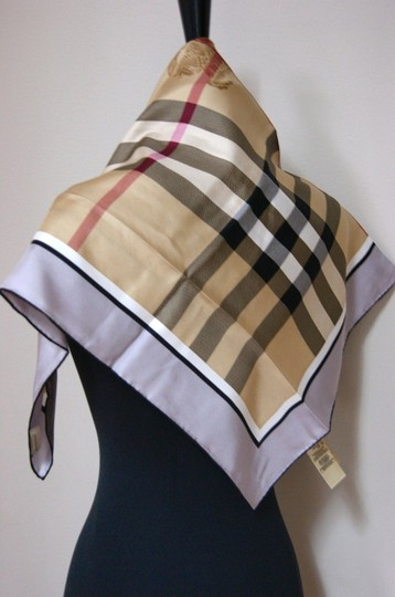 Burberry NWT Authentic Burberry Beige Black Check Silk Square Scarf Image 4