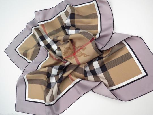 Burberry NWT Authentic Burberry Beige Black Check Silk Square Scarf Image 5