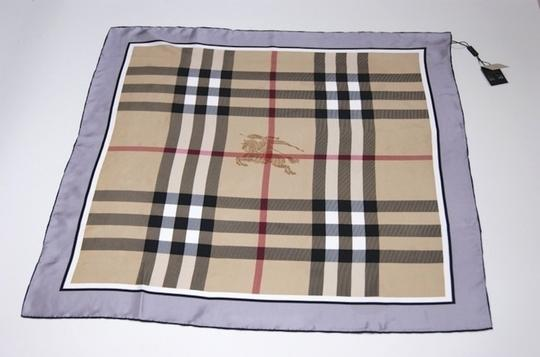 Burberry NWT Authentic Burberry Beige Black Check Silk Square Scarf Image 6