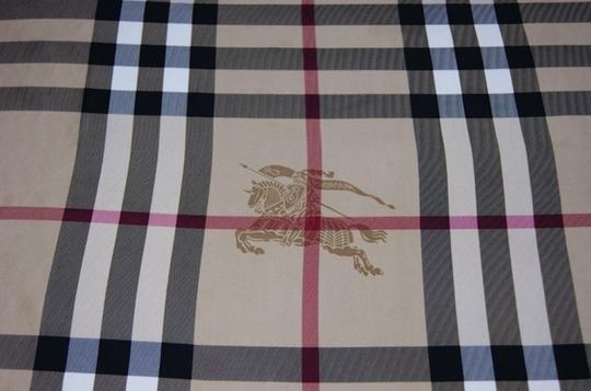 Burberry NWT Authentic Burberry Beige Black Check Silk Square Scarf Image 7