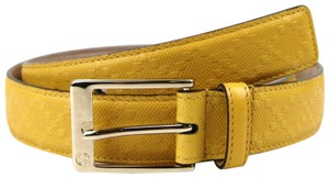 Gucci Diamante Leather Square Buckle Belt Yellow 95/38 345658 7011