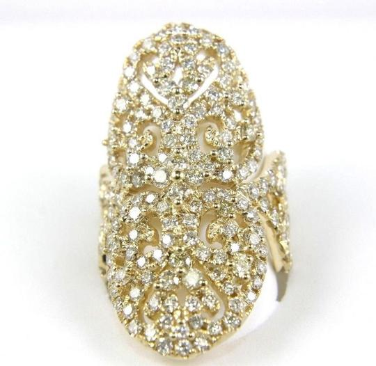 Other Long Round Diamond Filigree Lady's Ring Band 14k Yellow Gold 3.76Ct Image 1