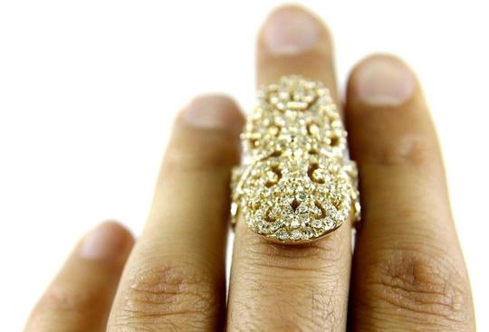 Other Long Round Diamond Filigree Lady's Ring Band 14k Yellow Gold 3.76Ct Image 4