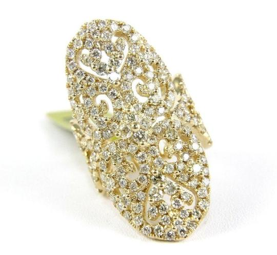 Other Long Round Diamond Filigree Lady's Ring Band 14k Yellow Gold 3.76Ct Image 5