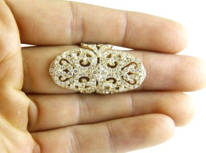 Other Long Round Diamond Filigree Lady's Ring Band 14k Yellow Gold 3.76Ct