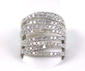 Other Bypass Criss Cross Diamond Lady's Ring Band 14k White Gold 3.00Ct