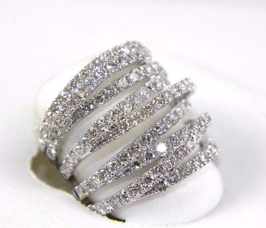 Other Bypass Criss Cross Diamond Lady's Ring Band 14k White Gold 3.00Ct Image 1