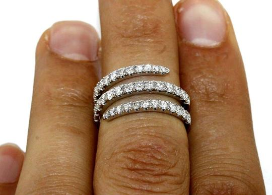 Other Bypass Round Diamond Cluster Pave Ring Band 18k White Gold 1.53Ct Image 1