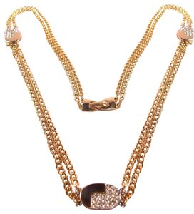 Lanvin XL Vintage 1970s Lanvin Black Enamel Crystal Chunky Chain Necklace