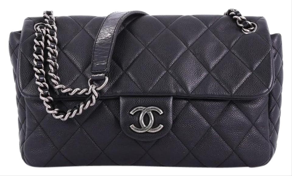 454595aa0f89 Chanel Classic Flap Coco Casual Quilted Caviar Medium Black Leather ...