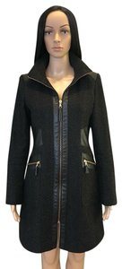 Via Spiga Gold Hardware Leather Faux Leather Funnel Neck Herringbone Pea Coat