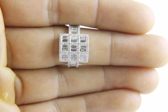 Other Emerald & Round Diamond Cluster Square Ring 18k White Gold 1.80Ct Image 4