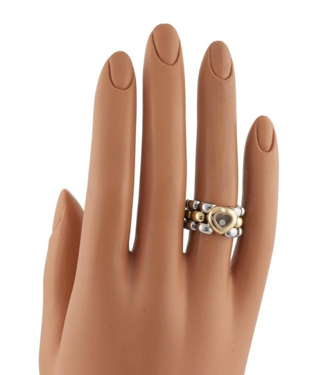 Chopard Happy Diamond 18k YGold & Steel Heart Panther Link Flex Band Ring Image 1