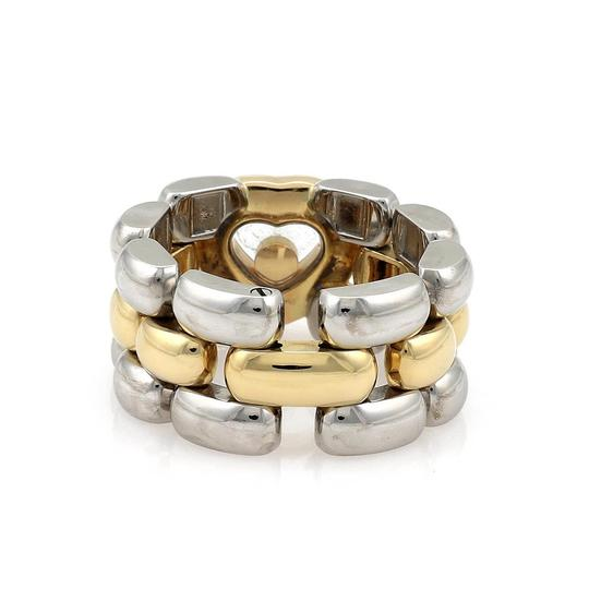 Chopard Happy Diamond 18k YGold & Steel Heart Panther Link Flex Band Ring Image 2