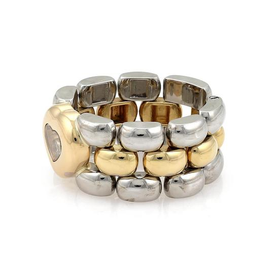 Chopard Happy Diamond 18k YGold & Steel Heart Panther Link Flex Band Ring Image 3