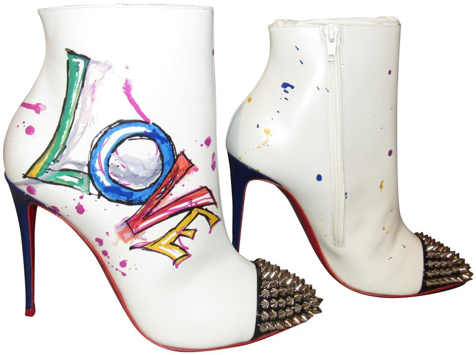 454662d79b3 Christian Louboutin Multicolor New Love 100 White Version Leather Painted  Spike Boots/Booties Size EU 38 (Approx. US 8) Regular (M, B) 30% off retail