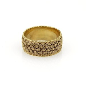 Tiffany & Co. Vintage 18k Yellow Gold 8mm Basket Weave Band Ring Size 4