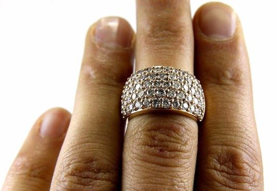 Other Round Diamond Wide 5 Row Cluster Dome Ring Band 14k Rose Gold 3.36Ct Image 5