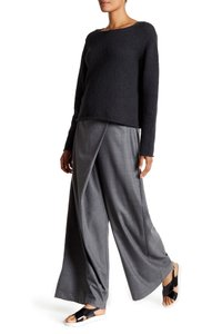 Eileen Fisher Sarong Wrap Slouchy Wool Relaxed Pants CHARCOAL