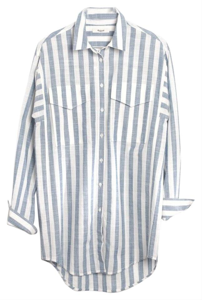 ad1147365 Madewell Blue Oversized Shirt In Major Stripe Button-down Top Size ...