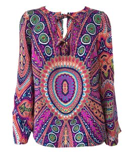 Alice & Trixie Long Sleeve Colorful Silk Xs Top Pink