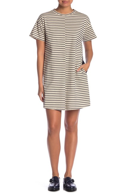 Item - Cream Ecru Deep Navy Stripe Relaxed Combo Shift Mid-length Short Casual Dress Size 12 (L)