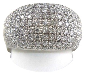 Other Brilliant Diamond Wide Pave Dome Cigar Ring Band 18k White Gold 1.82Ct
