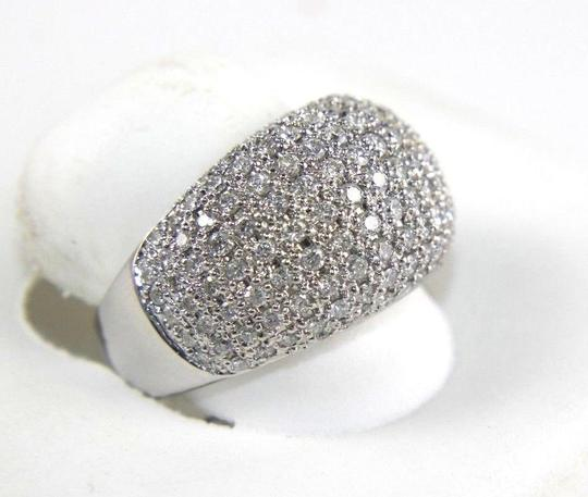 Other Brilliant Diamond Wide Pave Dome Cigar Ring Band 18k White Gold 1.82Ct Image 1