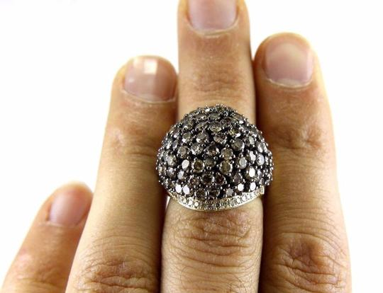 Other Fancy Color Round Diamond Cluster Dome Cigar Ring Band 14k YG 6.11Ct Image 4