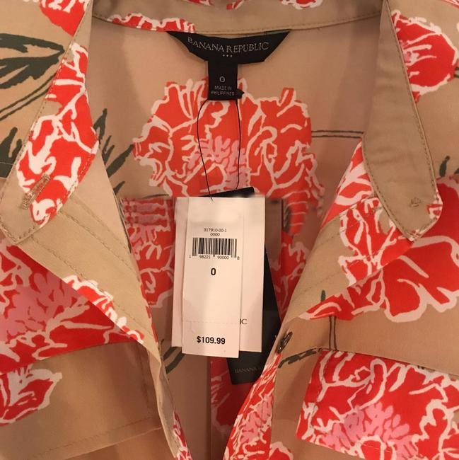 Item - Tan Multi Floral Mid-length Work/Office Dress Size 0 (XS)