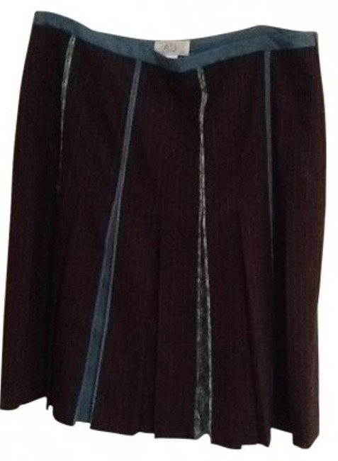 Ann Taylor LOFT Skirt brown with jade pinstripe