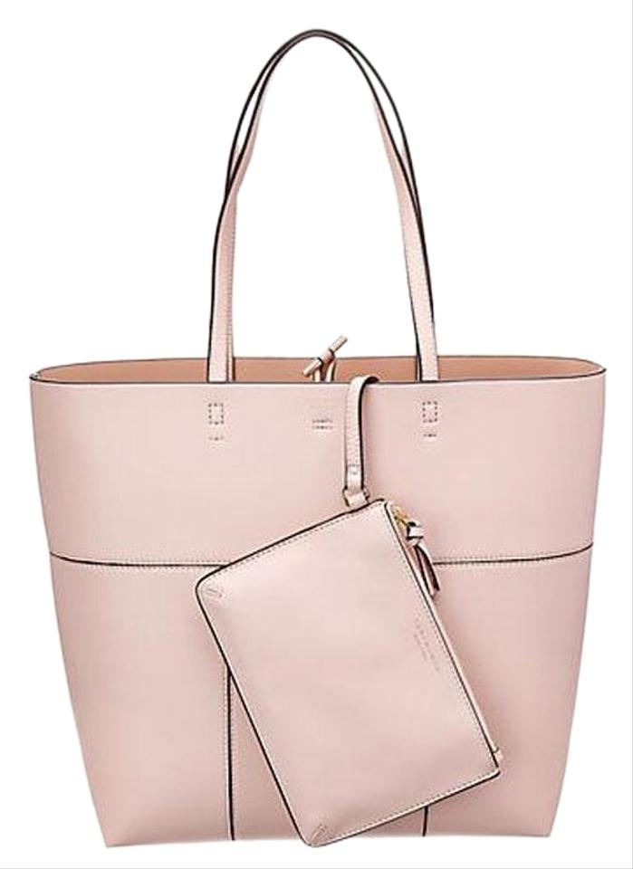 9bf5223a62bc Tory Burch Block-T T Tall N S W Pouch Shell Pink Leather Tote - Tradesy