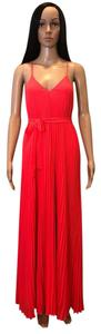 Pink, Coral Maxi Dress by Victoria's Secret Knife Pleat Pleated Chiffon Silk Neon