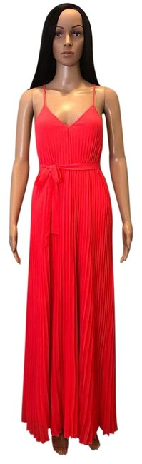 Pink, Coral Maxi Dress by Victoria's Secret Knife Pleat Pleated Chiffon Silk Neon Image 0