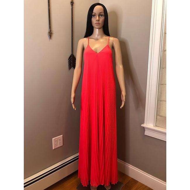 Pink, Coral Maxi Dress by Victoria's Secret Knife Pleat Pleated Chiffon Silk Neon Image 1