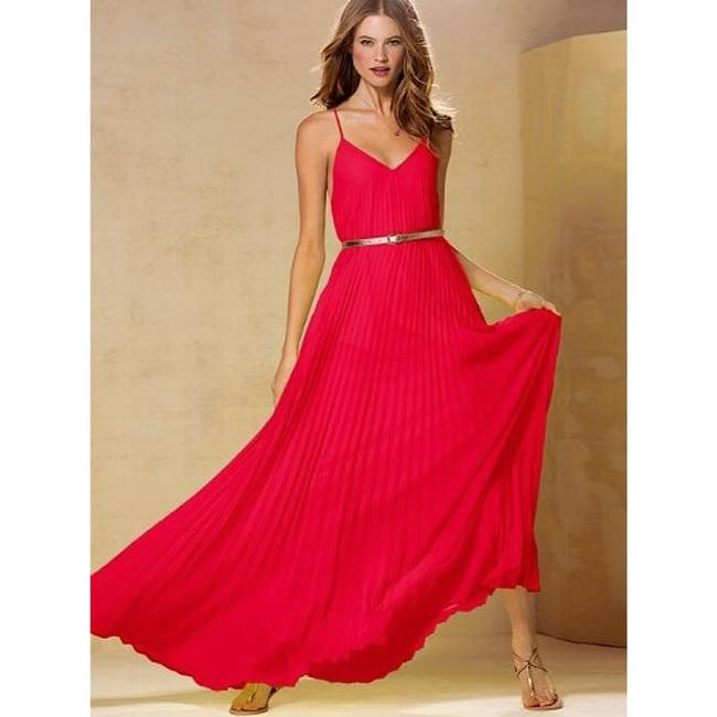 Pink, Coral Maxi Dress by Victoria's Secret Knife Pleat Pleated Chiffon Silk Neon Image 2