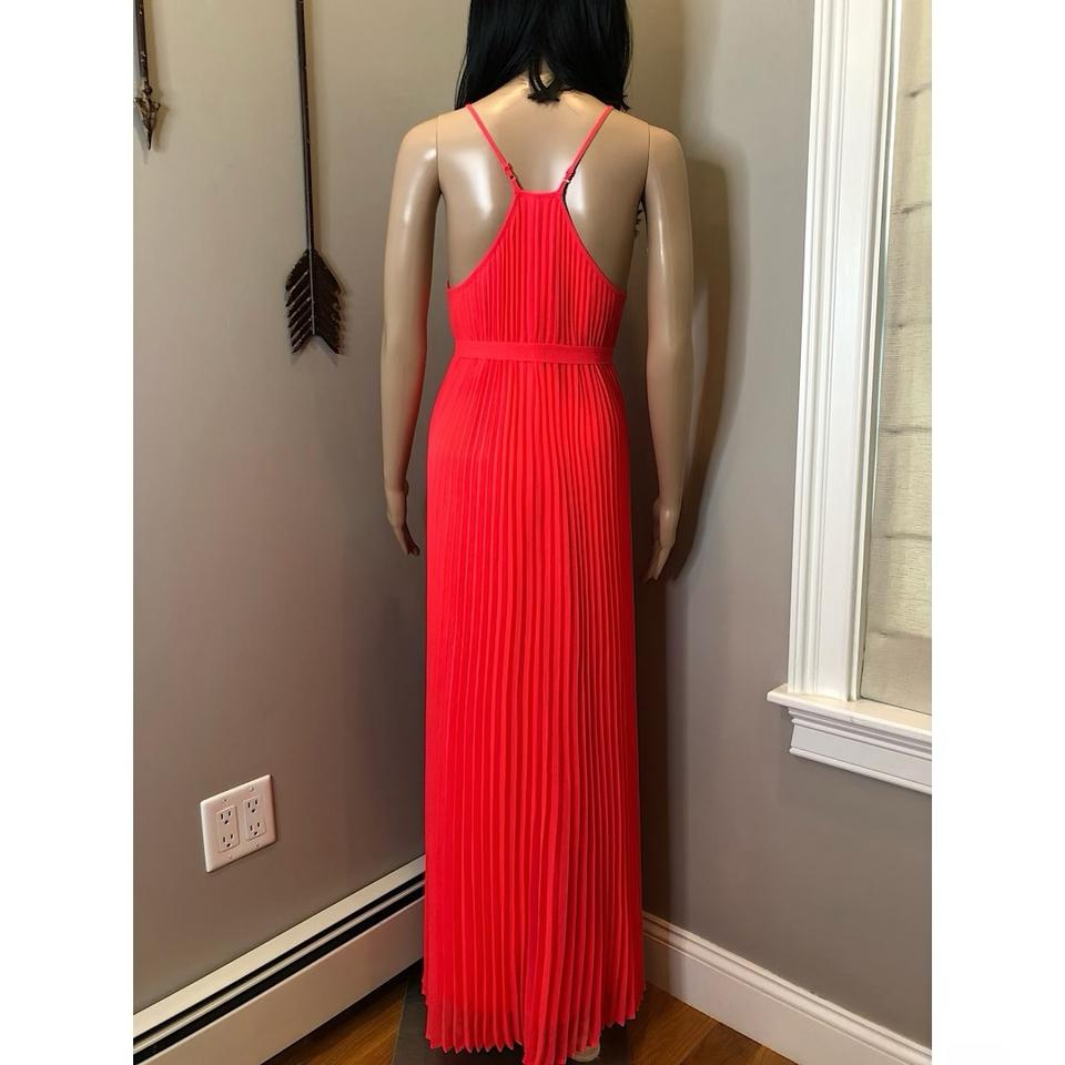 2fc87c1948aea ... Coral Maxi Dress by Victoria's Secret Knife Pleat Pleated Chiffon Silk  Neon Image 9. 12345678910