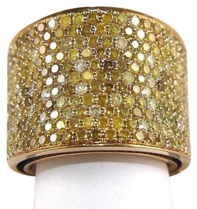 Other Round Pave Canary Diamond Cluster Ring Band 18k Yellow Gold 3.88Ct