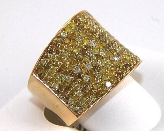 Other Round Pave Canary Diamond Cluster Ring Band 18k Yellow Gold 3.88Ct Image 1