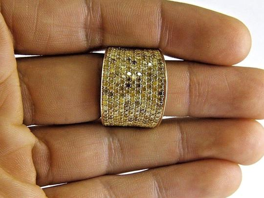 Other Round Pave Canary Diamond Cluster Ring Band 18k Yellow Gold 3.88Ct Image 3