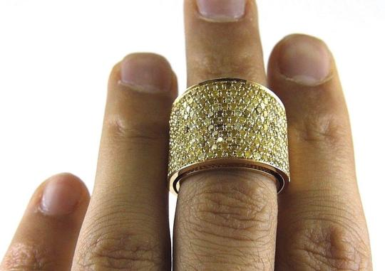 Other Round Pave Canary Diamond Cluster Ring Band 18k Yellow Gold 3.88Ct Image 4