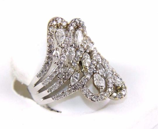 Other Bypass Marquise & Round Diamond Cluster Ring Band 18k WG 2.12Ct Image 1