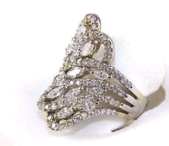 Other Bypass Marquise & Round Diamond Cluster Ring Band 18k WG 2.12Ct Image 2