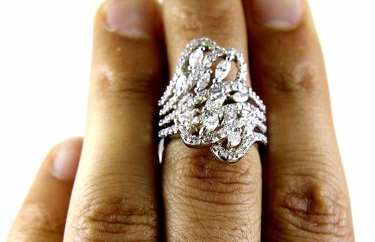 Other Bypass Marquise & Round Diamond Cluster Ring Band 18k WG 2.12Ct Image 4