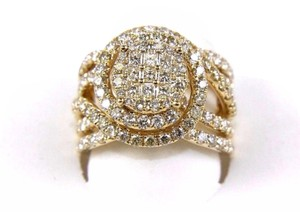 Other Princess & Round Diamond Cluster Spiral Infinity Ring 14k YG 1.89Ct