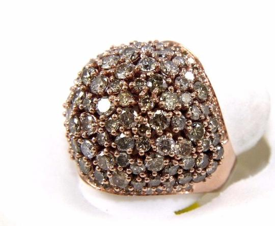 Other Fancy Color Round Diamond Cluster Dome Cigar Ring Band 14k RG 6.00Ct Image 2