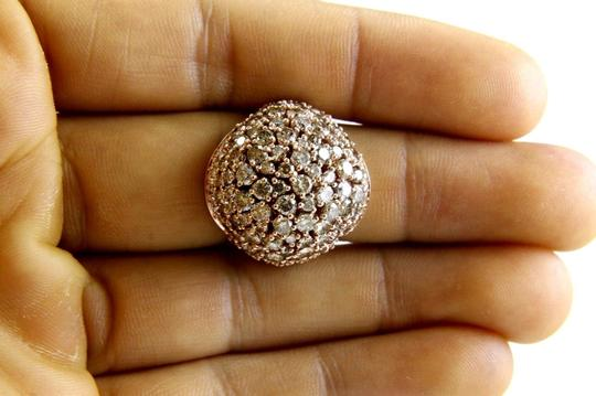 Other Fancy Color Round Diamond Cluster Dome Cigar Ring Band 14k RG 6.00Ct Image 3