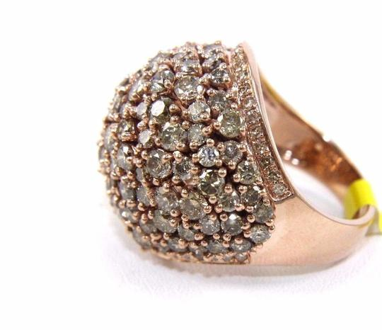 Other Fancy Color Round Diamond Cluster Dome Cigar Ring Band 14k RG 6.00Ct Image 6