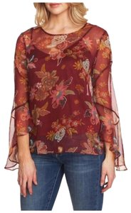 Vince Camuto Bell Sleeve Floral Flowy Long Sleeve Attached Cami Top Red